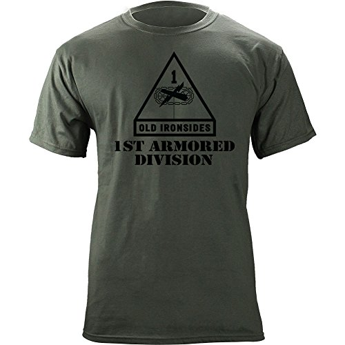 Army 1st Armored Division Subdued Veteran T-Shirt (L, Green)