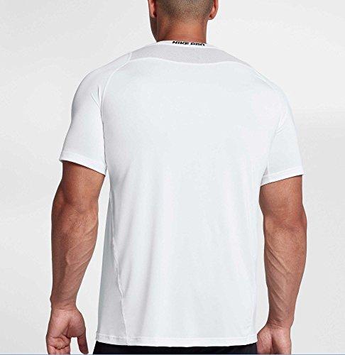 Nike Men's Pro Fitted T-Shirt (White/Black/Black, X-Large) 2