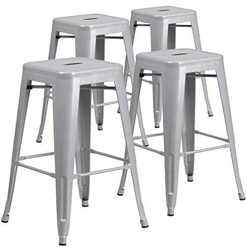 Flash Furniture 4 Pk. 30'' High Backless Silver Metal Indoor-Outdoor Barstool with Square Seat by Flash Furniture