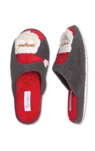 PajamaGram Holiday Santa Slippers with Non-Skid Soles, Gray, (6-7)