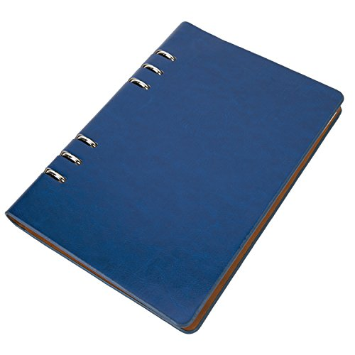 UBaymax Premium PU Leather Cover A5 Refillable Notebook,100 Sheets Binder Spiral Personal Executive Diary For Office Business Navy