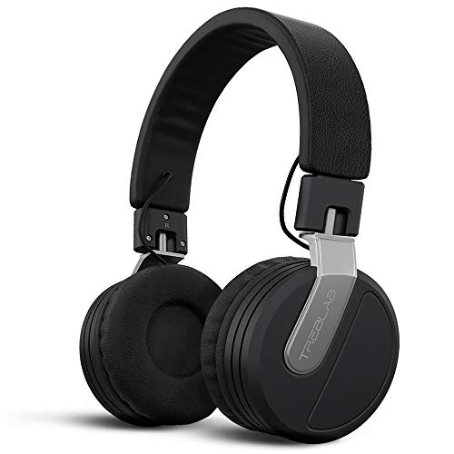 TREBLAB BT5 – Premium On-Ear Wireless Headphones – High-Intensity HD Sound w/Bluetooth 5.0 Over-Ear Microphone, Waterproof IPX4 for Sports Workout, Travel, Work. 24H Play, Passive Noise Cancelling