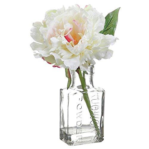 Artificial Peony Floral in Glass Vase Cream Polysilk - 8