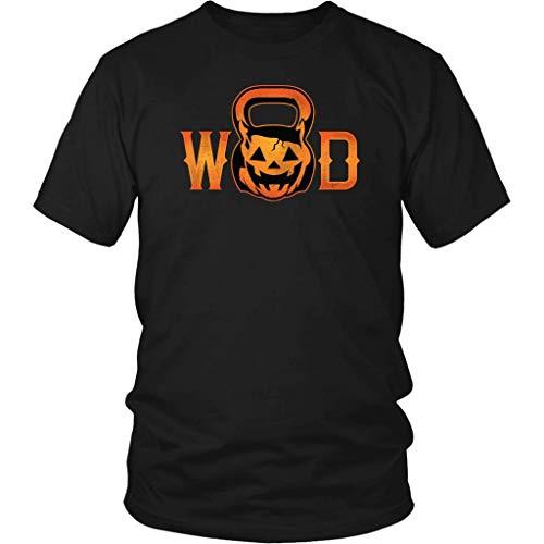 WOD Pumpkin Kettle Bell Crossfit Halloween T-Shirt Black