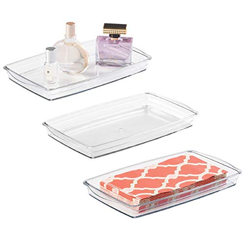 mDesign Plastic Storage Organizer Tray for Bathroom Vanity Countertops, Closets, Dressers - Holder for Guest Hand Towels, Watches, Earrings, Makeup Brushes, Reading Glasses, Perfume - 3 Pack - Clear