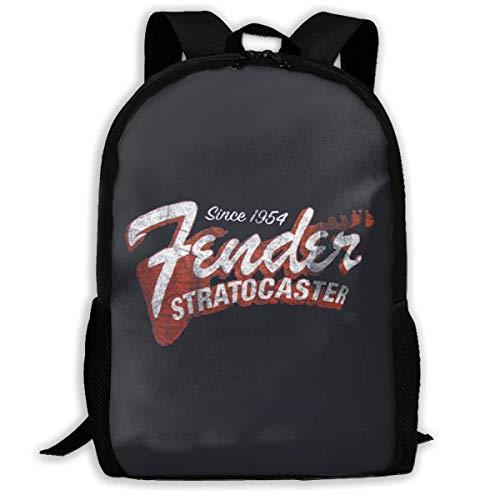 Lightweight Fender Since 1954 Strat Printed School Backpack Water Resistant Travel Rucksack Bag Laptop Backpack Daypack,17 ()
