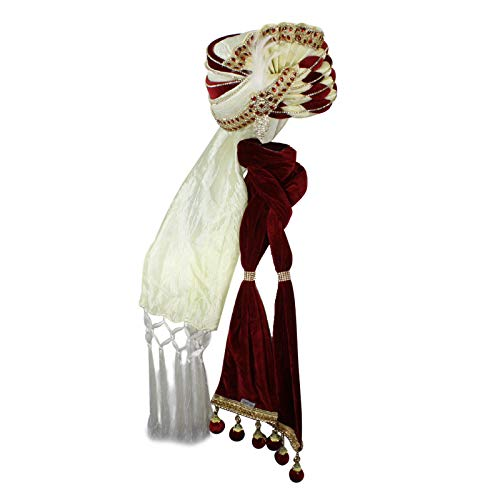 Men's King Turban Costume Hat and Scarf (Cream/Red) ()