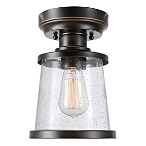 Charlie 1-Light Outdoor/Indoor Semi-Flush Mount Ceiling Light, Oil Rubbed Bronze, Clear Seeded Glass Shade 44301