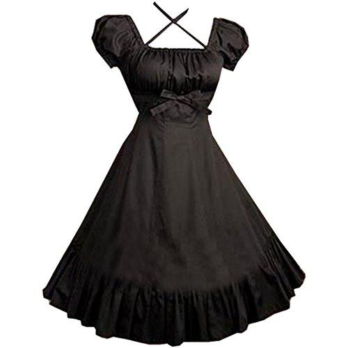 Partiss Women Cap Sleeves Classic Black Lolita Dress With Cross Straps, XXL, Black Sleeves Lolita Dress