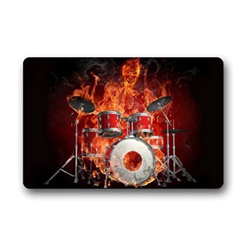 SHUNLEI Custom Rock Flaming Drum Set/Drum kit Musical Instrument Durable Indoor/Outdoor Stain - Resistant Door Mat 23.6