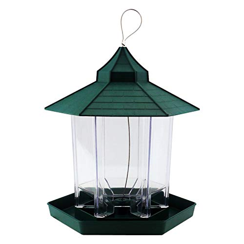 (SKYC Bird Feeder Wild Feeders for Outside Hanging Garden Yard Decoration Hexagon Shaped with Roof Gazebo Innovative Outdoor Pavilion Plastic (Green))