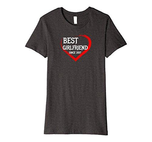 Womens Best Girlfriend Since 2017 1st Year Anniversary Tee Premium Large Dark Heather