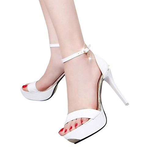 Women High Heels Fashion Breathable Sandals (White) - 9