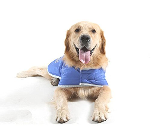 Fashion shop Dog Blanket Coat Reversible Winter Jacket with Waterproof Shell,Fleece Lining and Reflective Strip and Paw Print 3 color for Choice. (Blue, L) Fashion Pet Plaid Blanket