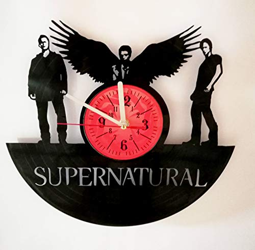 SUPERNATURAL 12 inches / 30 cm Vinyl Record Wall Clock | Gift for Teens, Boys and Girls | Sam Winchester and Dean Winchester | Castiel | Supernatural Merchandise (Clock Winchester Wall)