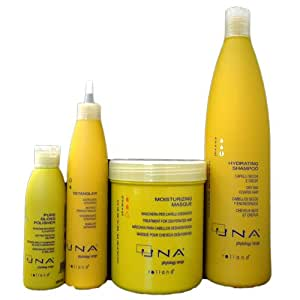 UNA Detangler 250ml, UNA Pure Gloss Polisher 150ml, UNA Moisturizing Masque 1000ml, UNA Hydrating Shampoo 1000ml - 4 Set