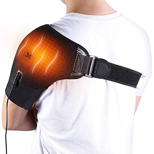Unisex Heat Shoulder Brace Adjustable Shoulder Heating Pad with Hot and Cold Therapy for Frozen Shoulder, Bursitis, Paralysis, Strain, Stiff, Soreness Fits