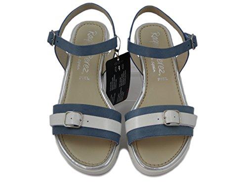 6226 3 Bianco Donna Blu Cm Zeppa In Sandalo Raquel Perez Bassa E Pelle qw8ax67f