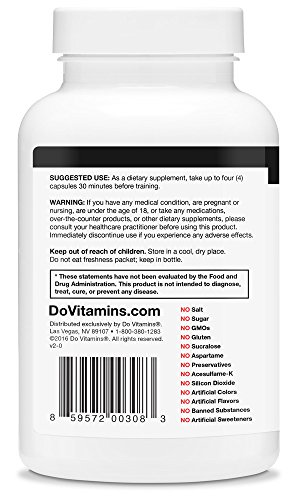 PumpPills - Nitric Oxide Booster, Caffeine Free Pre Workout Supplement for Men & Women without Creatine, Pre-Workout w/ L-Citrulline & Beta-Alanine - Vegan, Paleo, Non-GMO - 120 Capsules