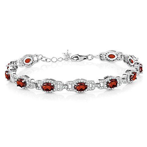 (Gem Stone King Red Garnet 925 Sterling Silver 7 Inch Bracelet 9.65 Ct Gemstone Birthstone Oval With 1 Inch Extender)