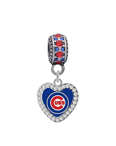 Chicago Cubs Heart Crystal Charm Fits Most Bracelet Lines Including Pandora, Chamilia, Troll, Biagi, Zable, Kera, Personality, Reflections, Silverado and More ...