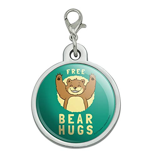 (GRAPHICS & MORE Free Bear Hugs Funny Humor Chrome Plated Metal Pet Dog Cat ID Tag - Large)