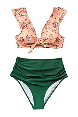 CUPSHE Women's Front Knot High Waisted Shirring Pink Green Bikini Set