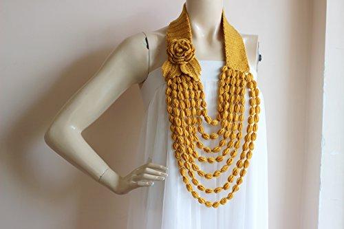 Mustard Crochet Necklace- Flower Necklace Scarf- Jewelry Scarf-Handmade Loop Scarf -Cotton Vegan Scarf