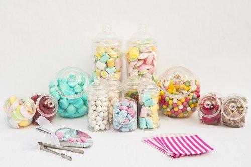 10 Jar Large Candy Buffet Kit Set 10 Empty Plastic Sweer ...