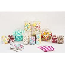 10 Jar Large Candy Buffet Kit Set 10 Empty Plastic Sweer Jars, 3 Tongs, 2 Scoops 100 Paper Bags Pink by Ritchies