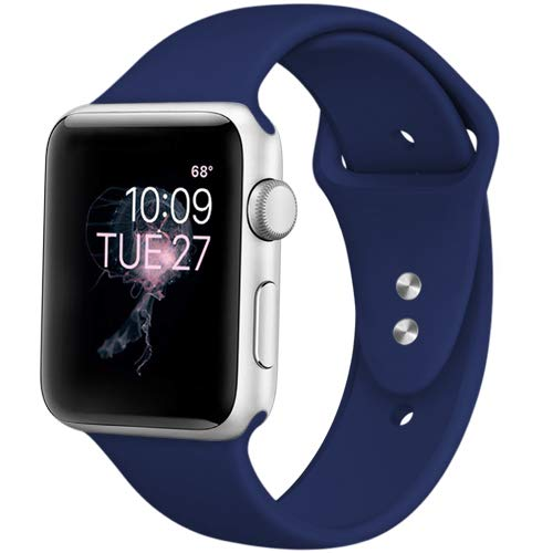 DaQin Bands Compatible with Apple Watch Band 42mm 44mm, Soft Silicone Sport Replacement Wristbands Strap for iWatch Series 4, Series 3/2/1, Navy Blue, S/M
