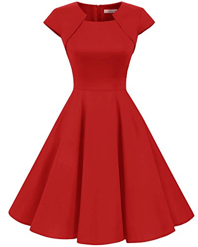 Homrain Women's 1950s Retro Vintage A-Line Cap Sleeve Cocktail Swing Party Dress Red M