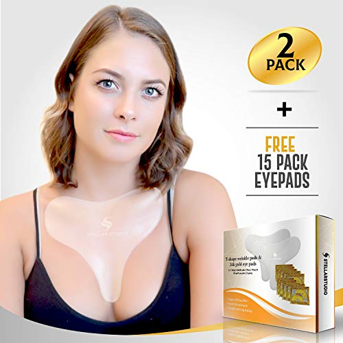 Reusable Anti Wrinkle Chest Décolleté Pads with BONUS Chest Pad and 15 pairs of 24k gold eye pads for Glowing smooth skin! - PREMIUM Medical Quality Silicone to Remove Wrinkles and Stretch marks!