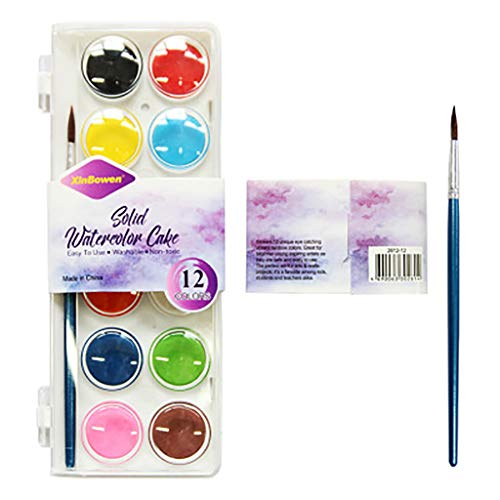 Nesee 12-Color Washable Watercolors Easy to Clean Up, 12 Bright Washable Watercolor Paints, 1 Paintbrush, Ages 3+