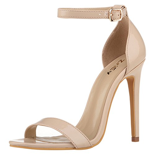 ZriEy Women's Heeled Sandals Ankle Strap Dress High Heels Stilettos,Nude,7.5 B(M) US