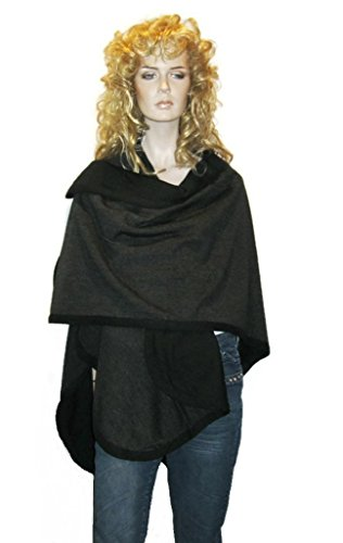 Cashmere Pashmina Group- Cape Woolen Reversible Ruana Knitted Poncho Shawl Cardigans Sweater Coat (Black/Charcoal) by Cashmere Pashmina Group