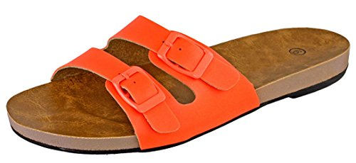 Cambridge Velg Womens 2-stropp Spenne Flatt Lysbilde Sandal Oransje