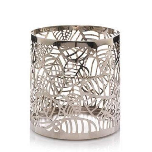 (Yankee Candle New Chrome Leaves Metal Jar Candle Holder Sleeve)