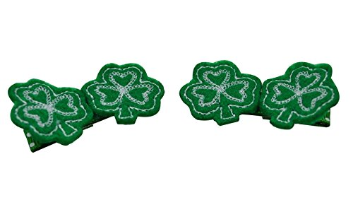 Shamrock Hair Clip - Shamrock St. Patrick's Day Embroidered Alligator Hair Clips (Set of 2) Funny Girl Designs (Green)