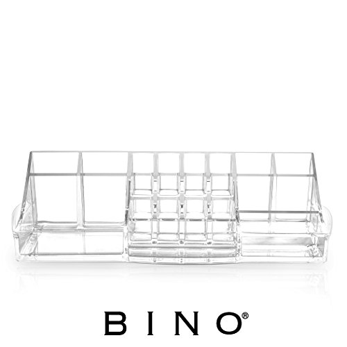 BINO 'The Perfectionist' 20 Compartment Acrylic Jewelry and Makeup Organizer with Lipstick Storage, Clear and Transparent Cosmetic Beauty Vanity (Enamel Vanity)