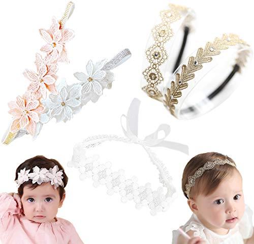 Baby Toddler Elastic Chiffon Flower Headbands Princess Girls Hand Sewing Beads Flower Headwear Nylon (Multicoloured 5pcs ASHXT525)