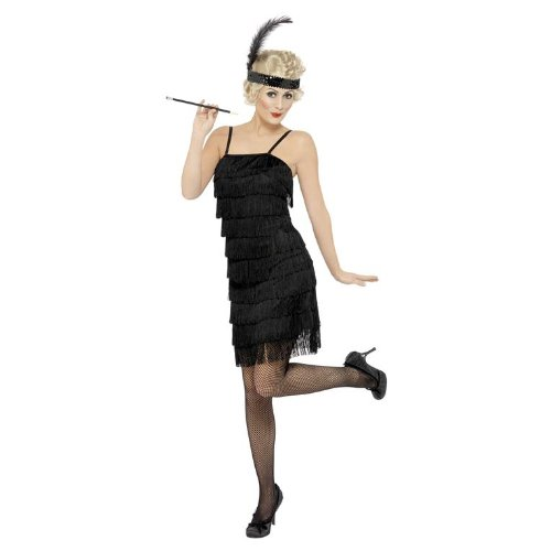 Black Fringe Flapper Adult Costume (Black Dress Halloween Costumes)