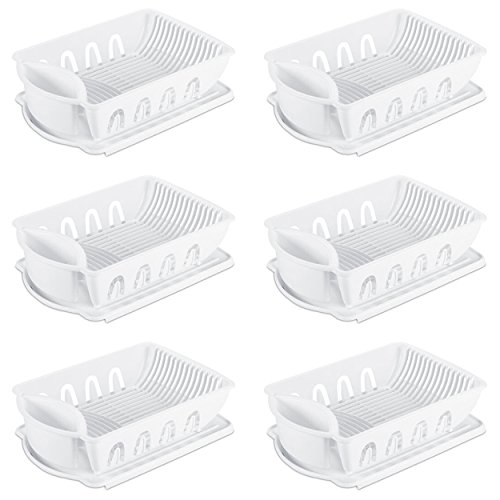 Sterilite 06418006 Large 2-Piece Sink Set, White, 6-Pack