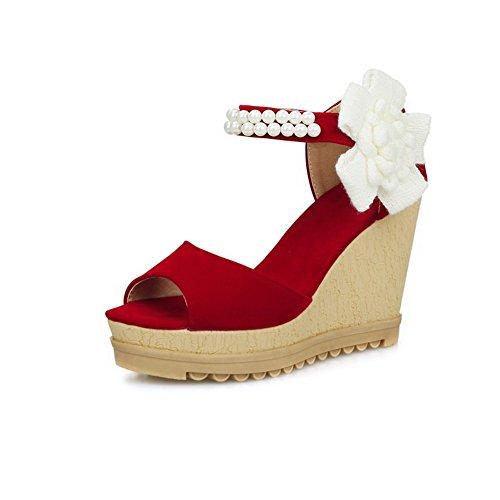 AgooLar Mujeres Velcro Puntera Abierta Plataforma Sintético Sólido Sandalia Rojo