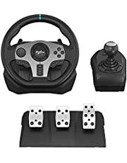 $199 » PC Steering Wheel, PXN V9 Universal Usb Car Sim 270/900 degree Race Steering Wheel with 3-pedal Pedals And Shifter Bundle for Xbox One,Xbox Series X/S,PS4, PS3, Nintendo Switch
