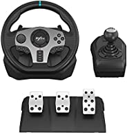 PC Steering Wheel, PXN V9 Universal Usb Car Sim 270/900 degree Race Steering Wheel with 3-pedal Pedals And Shi