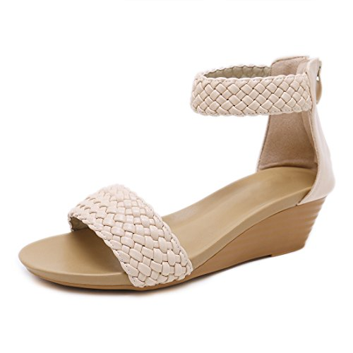 Zeetoo Women's Platform Wedge Sandals Open Toe Back Zipper Ankle Strappy Sandals 2021 Beige