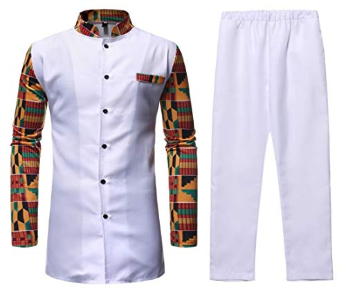 Fubotevic Mens Mandarin Collar Longline African Print 2 PCS Suit Outfits Button Down Blouse Shirt Tops White XL