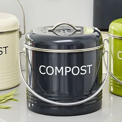 Komposteimer f/ür die K/üchenanrichte in Schiefergrau 3.5/Liter