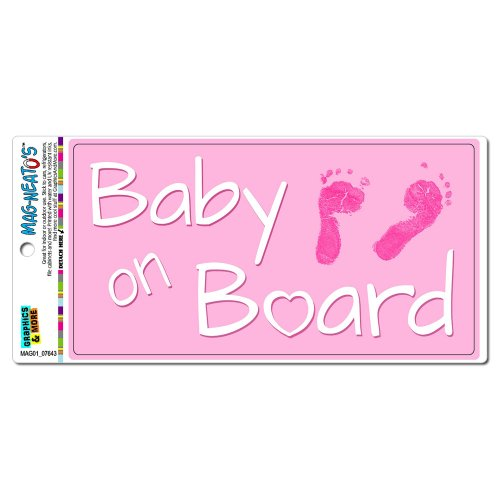 Baby on Board - Pink Girl Foot Prints Cute MAG-NEATO'S(TM) Automotive Car Refrigerator Locker Vinyl Magnet ()